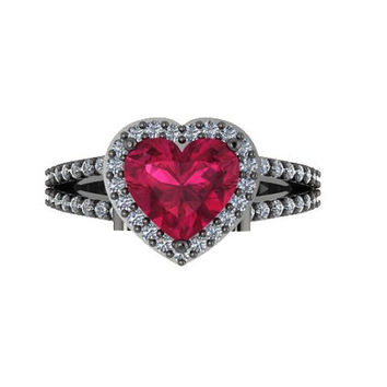 Diamond Engagement Ring Heart Shaped Red Ruby Engagement Ring 14K Black Gold with 8x8mm Red Ruby Center - V1083