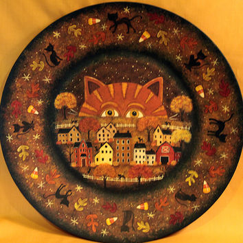 "Original Halloween Folk Art  Hand Painted Plate - ""Cats Night Out""  Halloween Celebrations- Tiger Cat, Black Cats, Saltbox Village - HAGUILD"