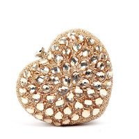 Unique Beaded Heart Evening Clutch Purses