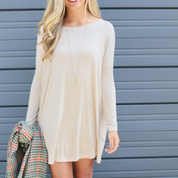 Ellington Sand Long Sleeve Piko Dress