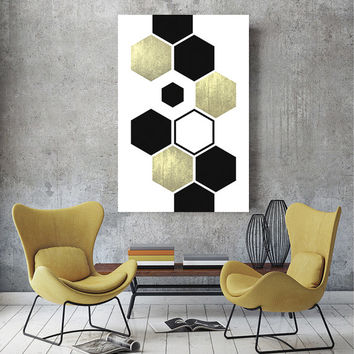 Scandinavian Print, Scandinavian Poster, Golden Hexagon Print, Nordic Art, Nordic Print, Printable Art, Geometric Art, Best Selling Prints