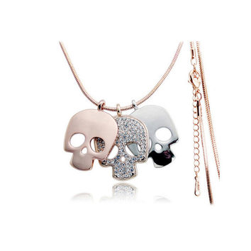 Rhinestone sugar skull necklace female/New fashion hiphop jewelry rose gold Mexico skeleton pendant long necklaces sweater chain