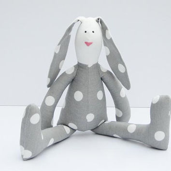 Stuffed rabbit toy Easter bunny gray white polka dots hare plush bunny doll softie stuffed toy Easter and birthday gift