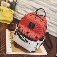 Mini Rivets Backpack For Women Girl Fashion Lady Bag