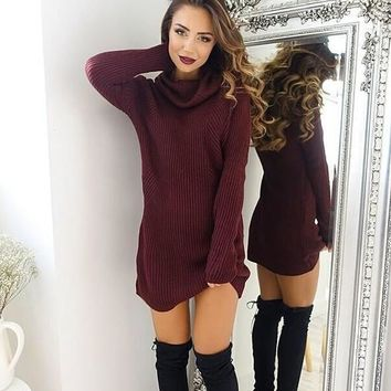 fashion winter spring warm turtleneck sweaters dress free christmas gift random necklace  number 1
