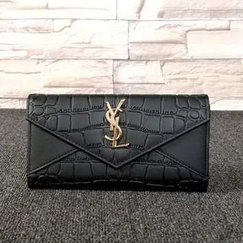 DCCK Yves Saint Laurent YSL' Women Simple Fashion Crocodile Pattern Long Section Double Layer Purse Button Flip Wallet Handbag