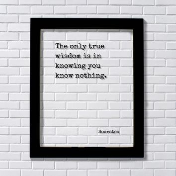 Socrates Quote - The only true wisdom is in knowing you know nothing. Philosophy Philosopher Teacher
