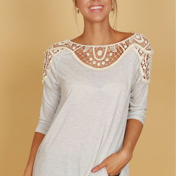 Crochet Shoulder Top Melange