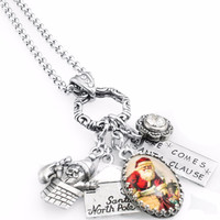 Up on the Roof Santa Charm Necklace