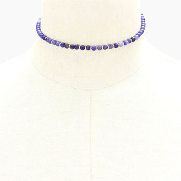 Blue Jasper Tiny Semi-Precious Stone Bead Strand Choker Necklace