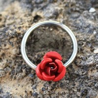 316L Stainless Steel Red Rose Snap-in Captive Bead Ring / Septum Ring