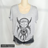 Dreamcatcher - Women's Plus Size, Heather Grey Short Sleeve, Graphic Print Embellished Shirt