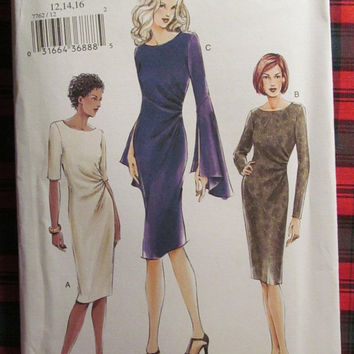 SALE Uncut Vogue Sewing pattern, 7762! 12-14-16 Medium/Large/Women's/Misses, Evening Dress/Formal or Special Occasion/Long or Short Sleeves