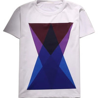 White Contrast Geo Printed T-shirt