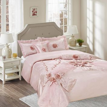Tache 6 Piece Raspberry Macaroon Elegant Solid Pink Faux Satin Comforter Set