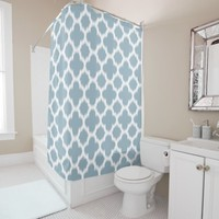 Gray Slate Blue White Ikat Quatrefoil Pattern Shower Curtain