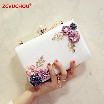Pearls Women's Embroidery Flower Evening Bags Female Floral Beaded Clutch Bag Clutches Purses With Chain