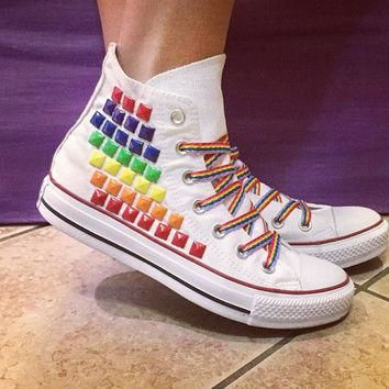 Custom Converse Rainbow Studded High Tops; ALL SIZES & COLORS! Chuck Taylors; Custom C