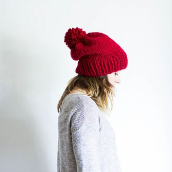 Slouchy Chunky Knit Pom Pom Beanie | THE GRISWOLD | Cranberry