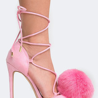 Pom Pom Lace Up Pump