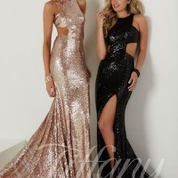 Tiffany Cut Out Gold Sequin Prom Dress 16140
