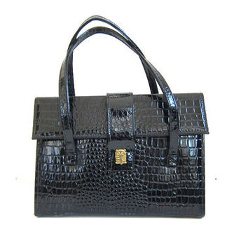 vintage 1950s JR black patent faux crocodile or alligator handbag purse / boxy purse with gold hardware