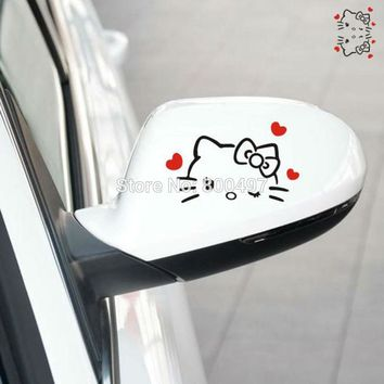 2 x Funny Car Styling Hello Kitty with Love Hearts Rearview Mirrors Car Decal Car Body Vinyl Decals For Autos