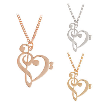Hollow Heart Shaped Musical Note Pendant Necklace