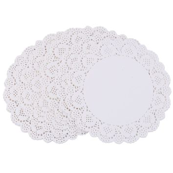 100Pcs White Round Lace Paper Doilies Cake Lace Paper Cake Placemat Craft Vintage Coasters Wedding Party Christmas Table Decor