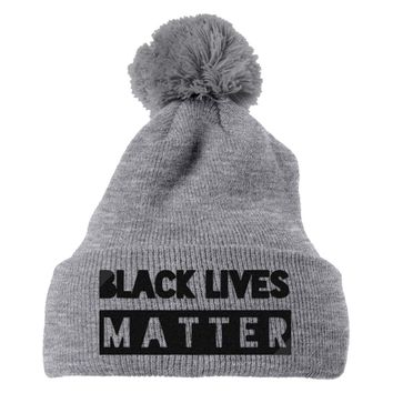 Black Lives Matter Embroidered Knit Pom Cap