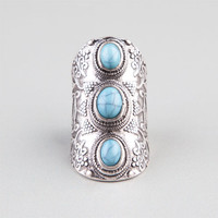 Full Tilt Turquoise Stone Knuckle Ring Silver
