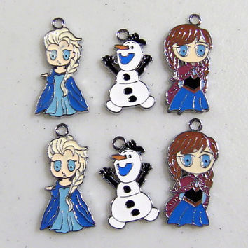 Disney Frozen Queen Elsa Princess Anna and Snowman Olaf Charm 6 Pcs Stainless Steel Pendant Metal Necklace Bracelet Assorted Sizes