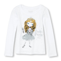 Toddler Girls Long Sleeve Glitter 'Daddy's Princess' Fashionista Graphic Tee | The Children's Place