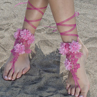 Fuchsia Pink Beach wedding barefoot sandals, wedding anklet, FREE SHIP, Bridal Lace Sandals wedding gift bridesmaid sandals Bridal anklet