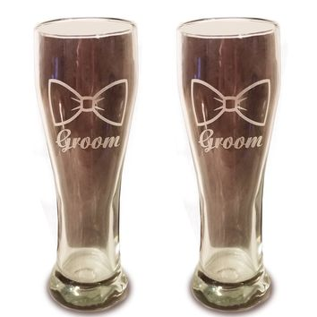 Laser Engraved LGBTQ Groom and Groom Glasses - 15 oz Beer Pilsner Glasses - Wedding Toasting Set of 2 - Couples Gifts - Engagement Gift - Original Wedding Gifts - Custom Wedding