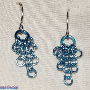 Tiny Cascade Earrings - Turquoise / Light blue