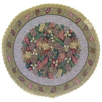 DaDa Bedding Festive Christmas Fiesta Floral Round Tapestry Table Cloth