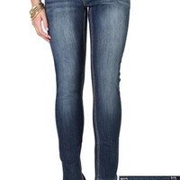 Reign Skinny Jean with Embroidered Pockets in Basic Dark Wash