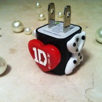 One Direction 1D Love Heart Bow Red US USB iPod iPhone Cute Wall Charger
