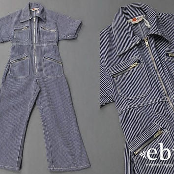 Kid's Vintage Children's Vintage Girl's Vintage Jumpsuit Toddler Vintage Conductor Jumpsuit 70s 1970s Jumpsuit Mechanic Jumpsuit 4T 4