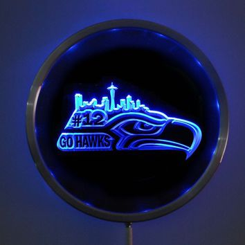 rs-b1031 Seattle Seahawks #12 LED Neon Round Signs 25cm/ 10 Inch - Bar Sign with RGB Multi-Color Remote Wireless Control