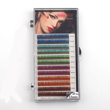 12rows/tray,6 Colors ,Colored Eyelash Extension ,Faux Mink color eyelashes,colorful eyelash extension 1 Piece