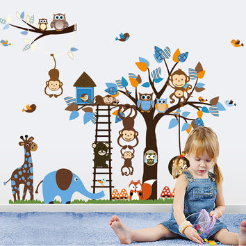 Large Wall Decals Nursery - Nursery Wall Decal - Tree Decal - Baby Boy Blue Tree with Forest Friends