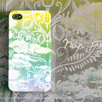 Apple iphone case for iphone iPhone 5 iphone 5s iphone 4 iphone 4s iphone 3Gs : Vintage white floral on green sky with cloud background