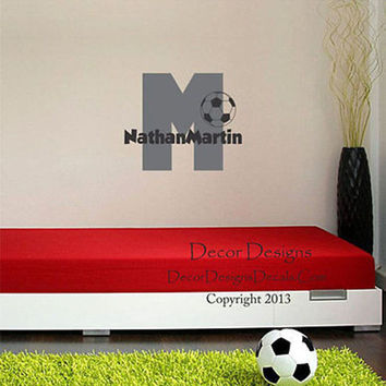 Soccer Initial Custom Personalized Name Vinyl Wall Decal Stickers