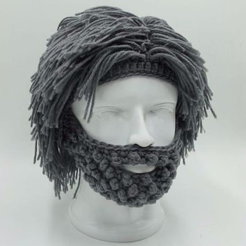 Mens Hand Knitted Beard and Hair Beanie Hat
