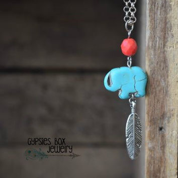 Boho Turquoise Magnesite Elephant Silver Feather Layering Necklace