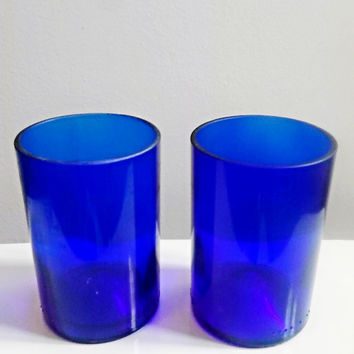 Handcrafted Upcycled Beautiful Cobalt Blue Wine Bottle Drinking Glasses Set