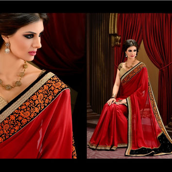 S9103 Designer Red Beige Satin Georgette Velvet Brocade Saree
