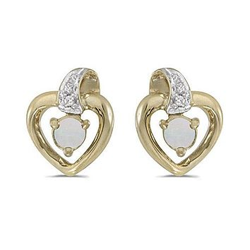 10K Yellow Gold Round Opal and Diamond Heart Shaped Earrings